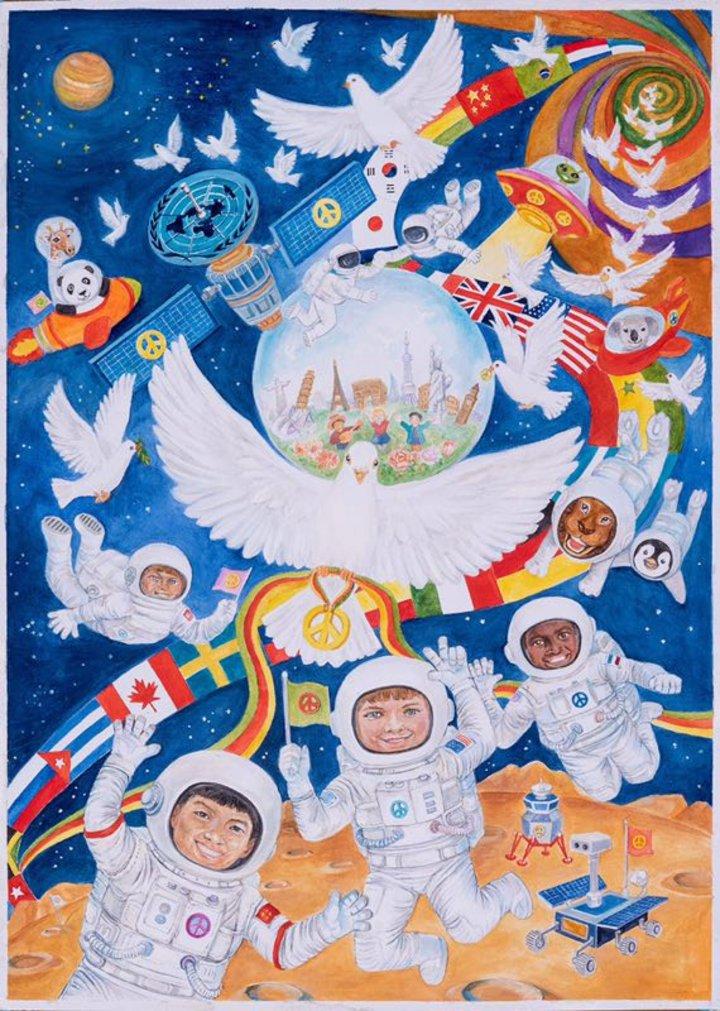 """荣获""""第30届狮子会国际和平海报比赛全球佳作奖"""",成为全球23幅获奖"""